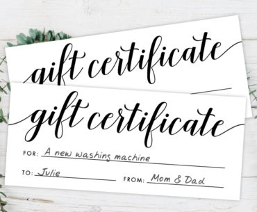 gift certificate featured