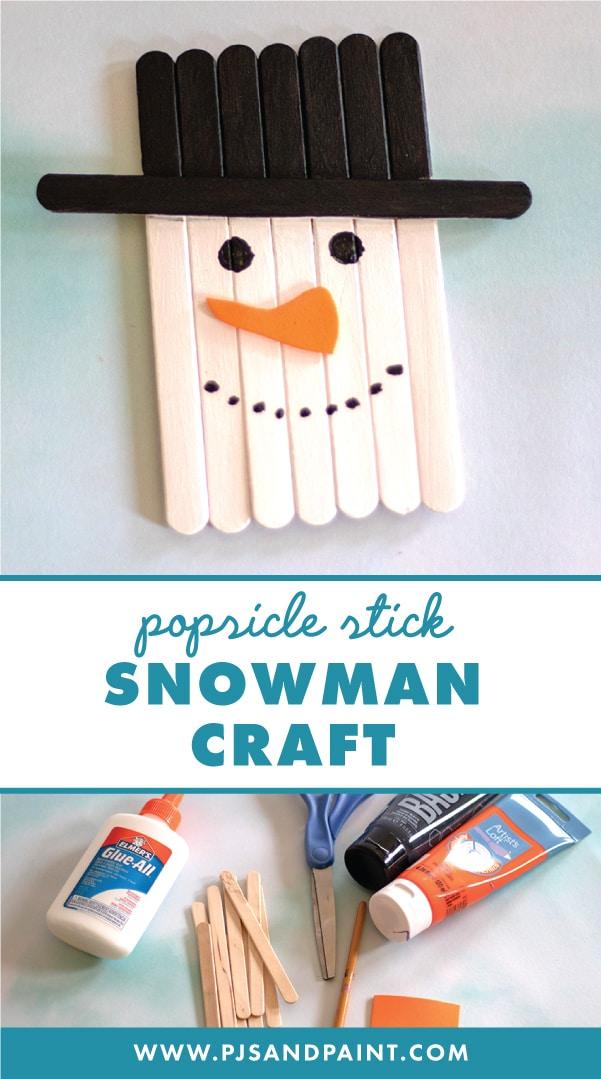 popsicle stick snowman craft pinterest
