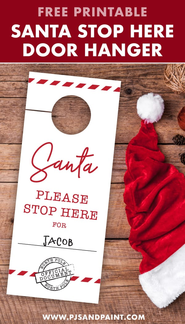santa stop here door hanger pinterest