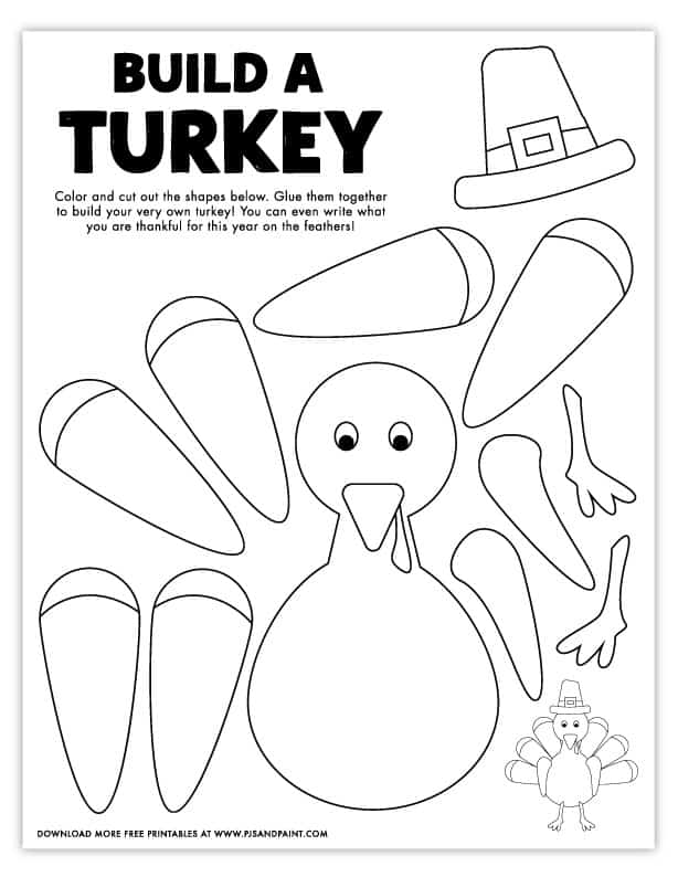 Free Printable Build a Turkey Coloring Page - Pjs and Paint