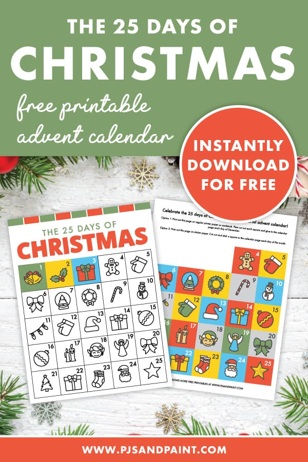 printable christmas advent calendar pinterest