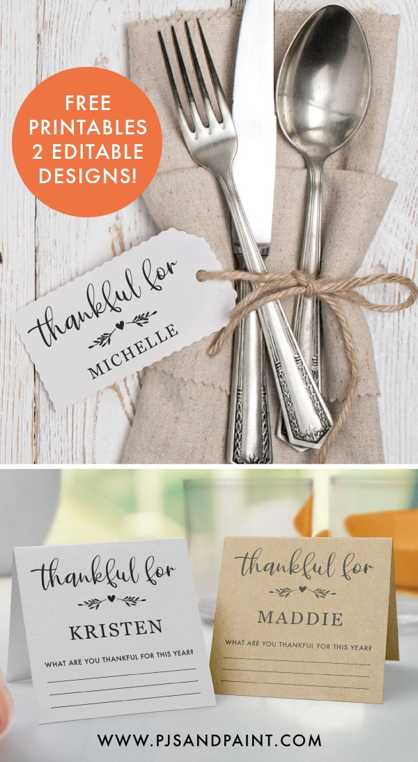 free printable thanksgiving place cards pinterest
