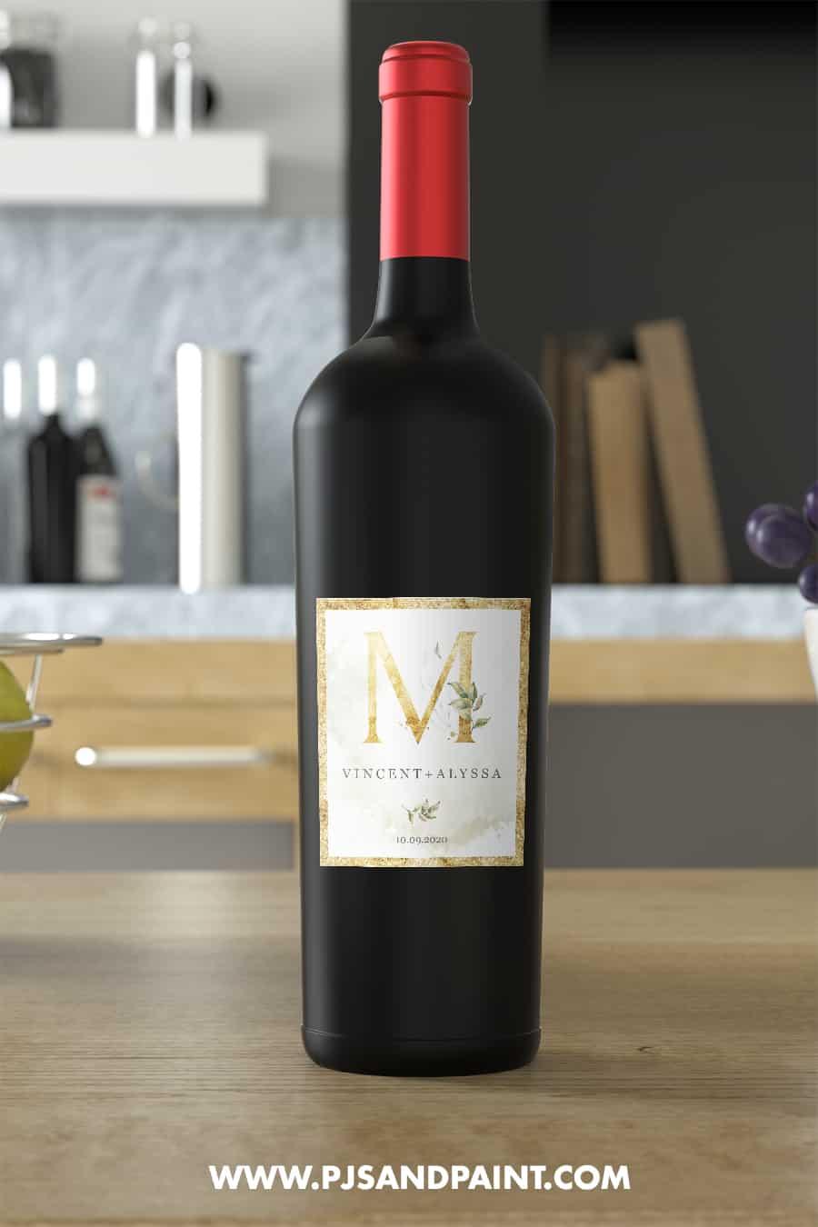 wine bottle label m
