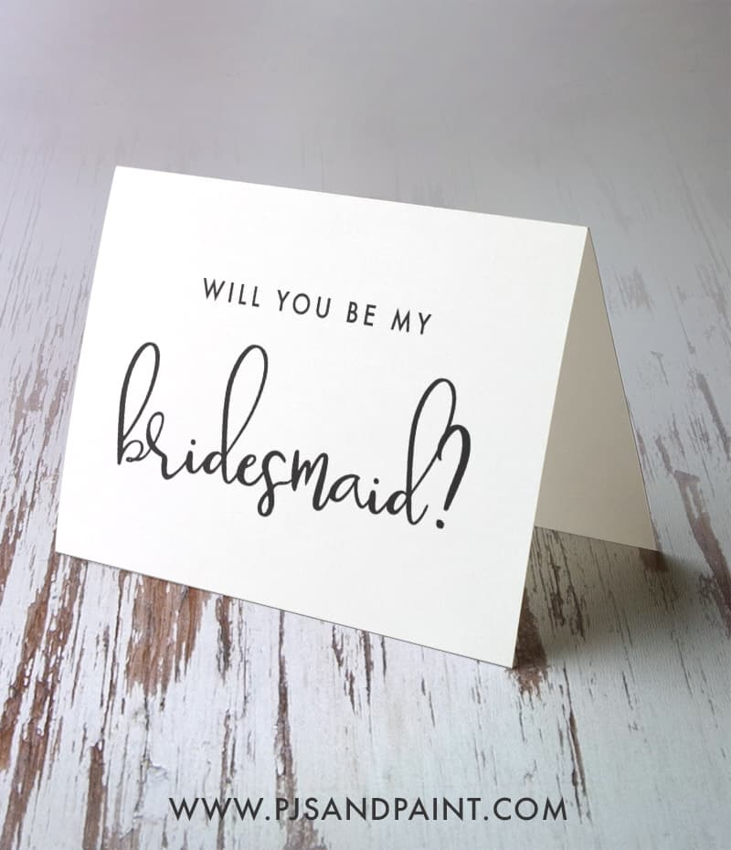 black and white bridesmaid cards