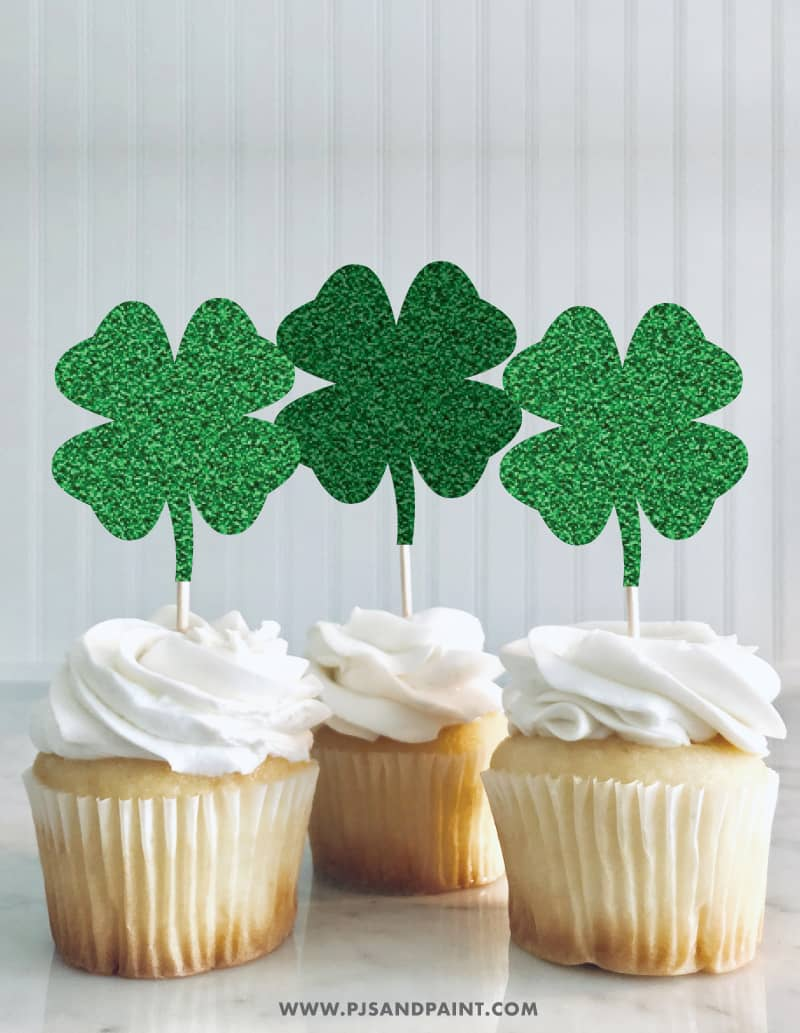 four leaf clover cupcake toppers