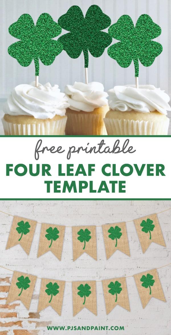 free printable four leaf clover template pinterest