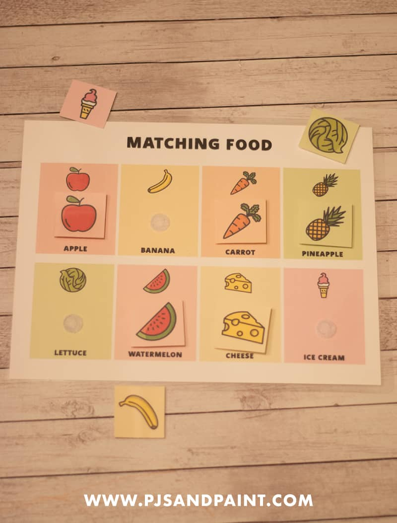 matching food activity