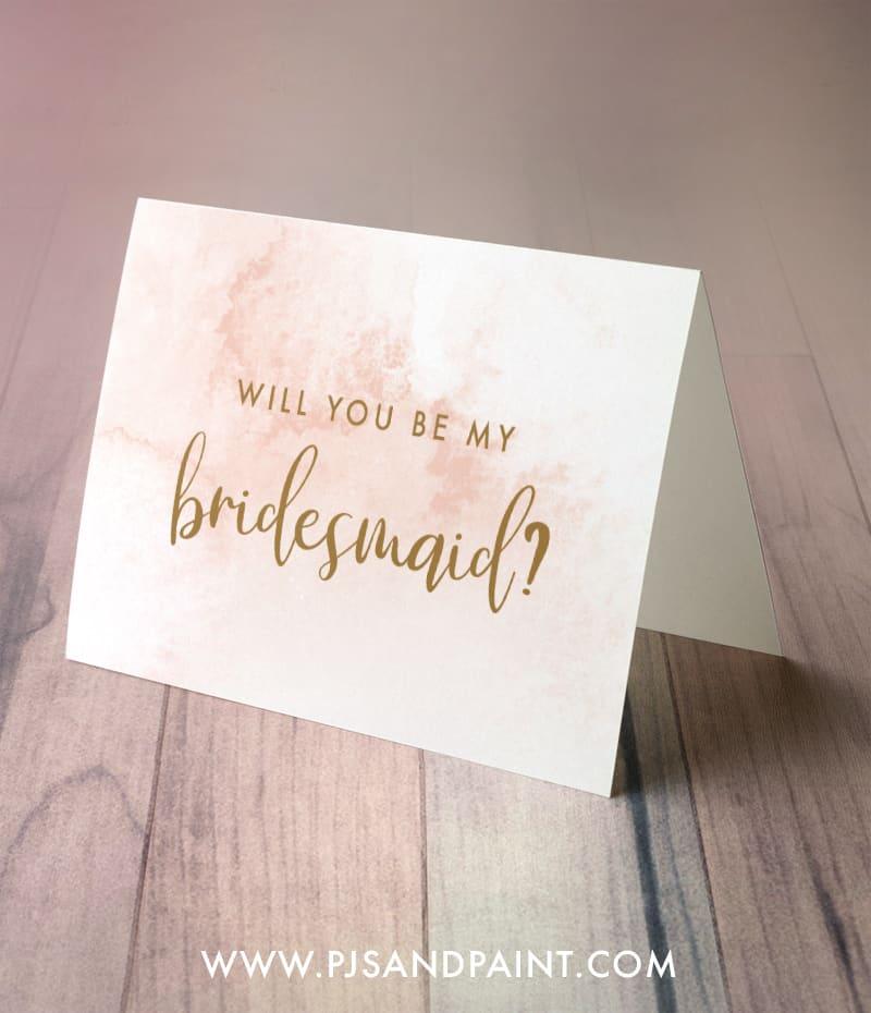 pink and gold bridesmaid card