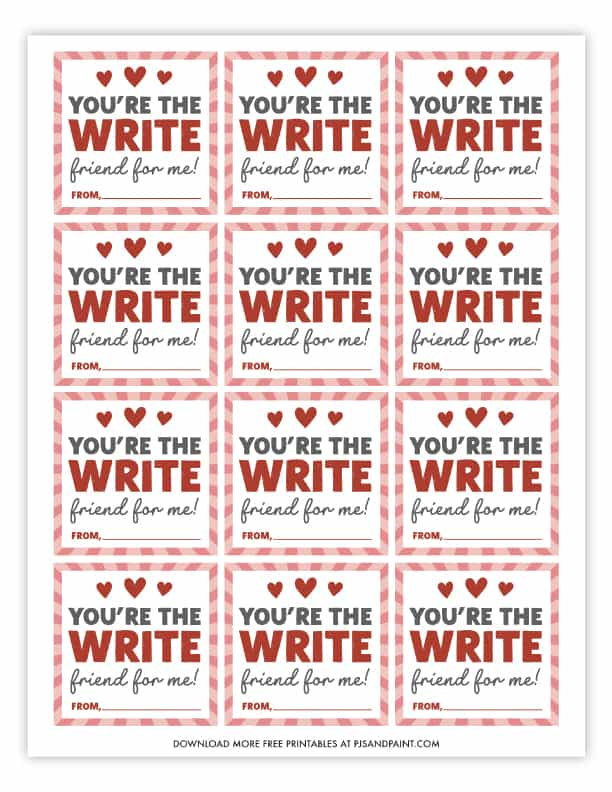 you're the write friend for me free printable