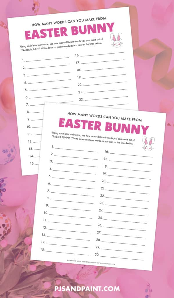 easter bunny word game