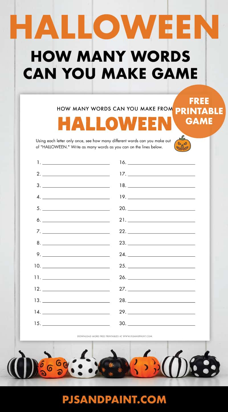 free printable halloween how many words game