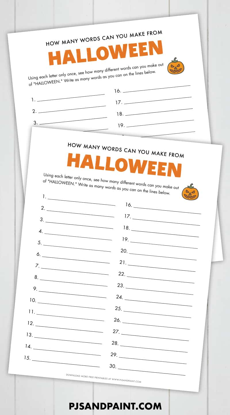 free printable halloween word game