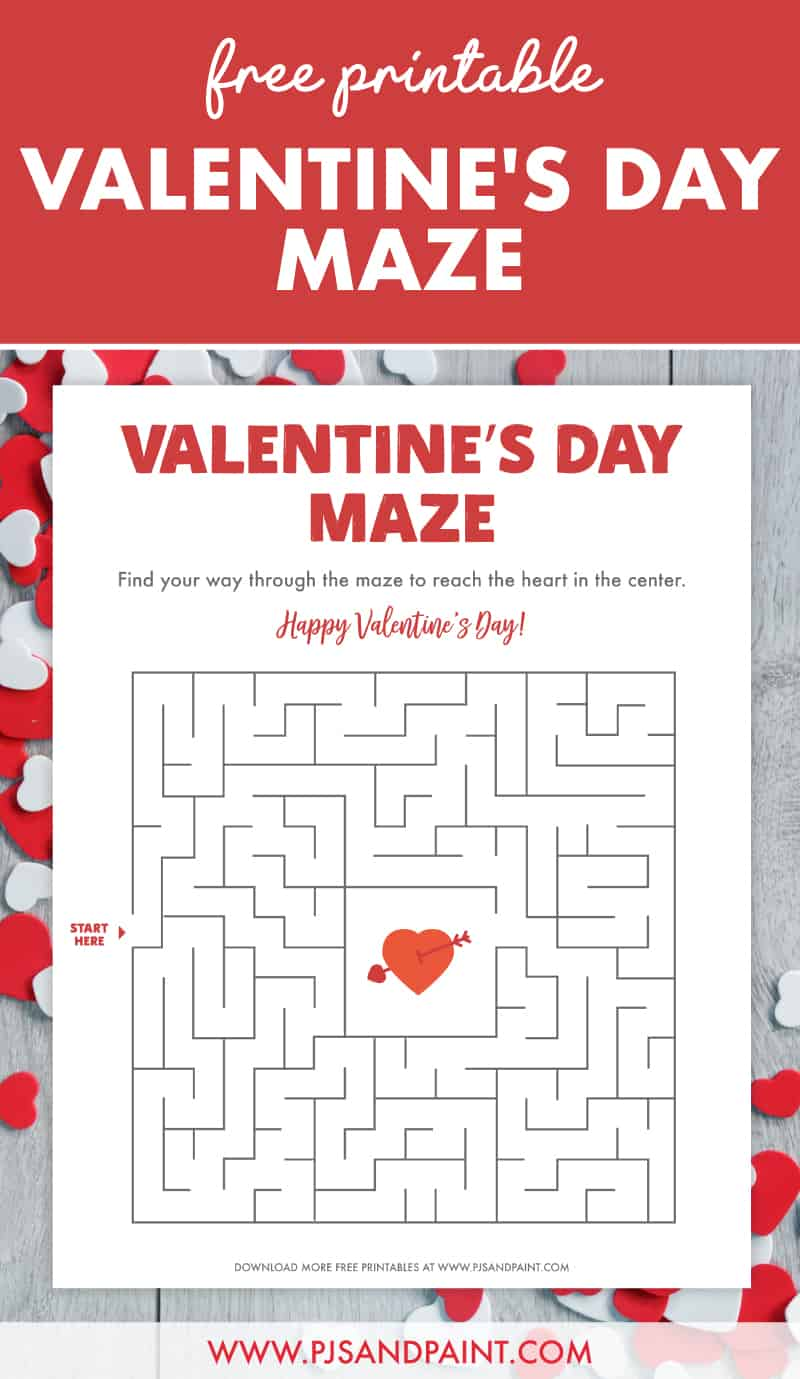 free printable valentines day maze pinterest