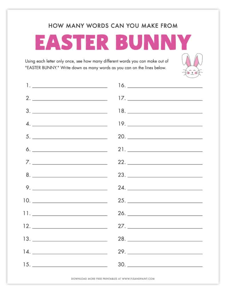 how many words can you make from easter bunny