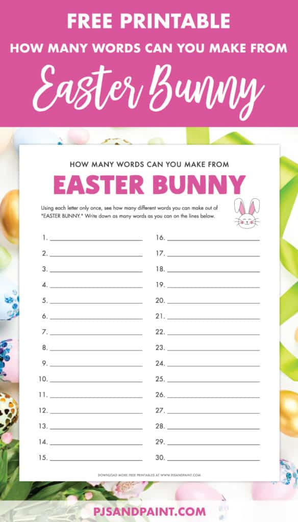 how many words can you make from easter bunny pinterest