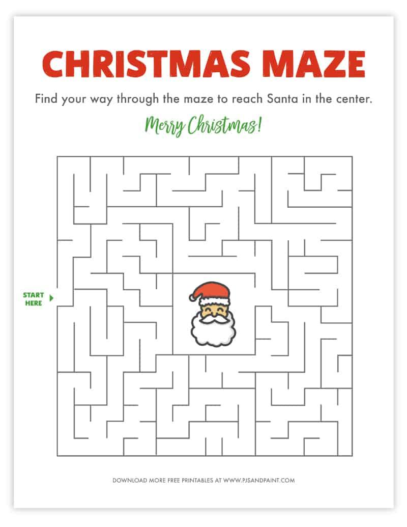 christmas maze free printable