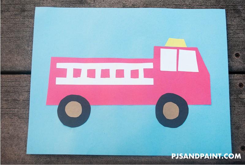 construction paper firetruck