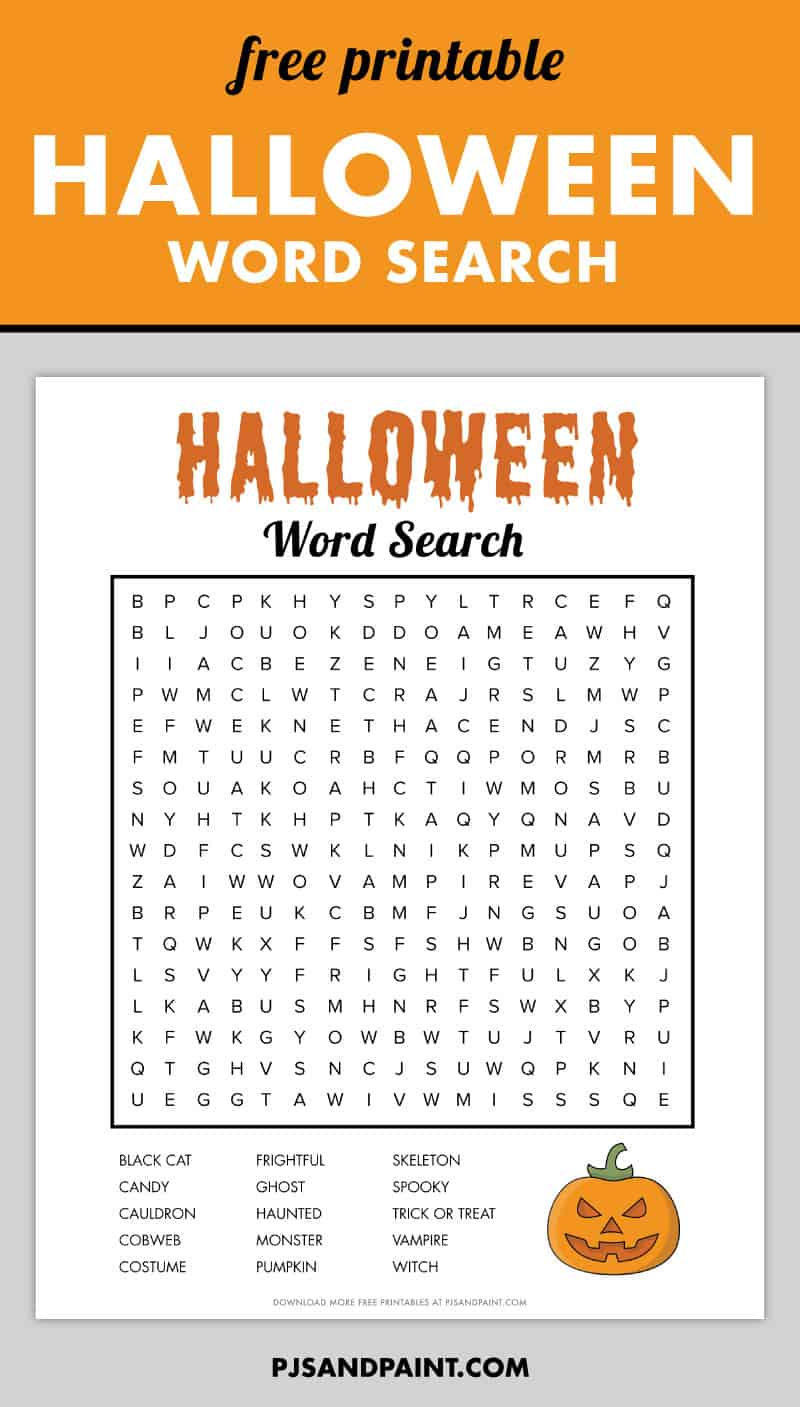 free printable halloween word search pinterest