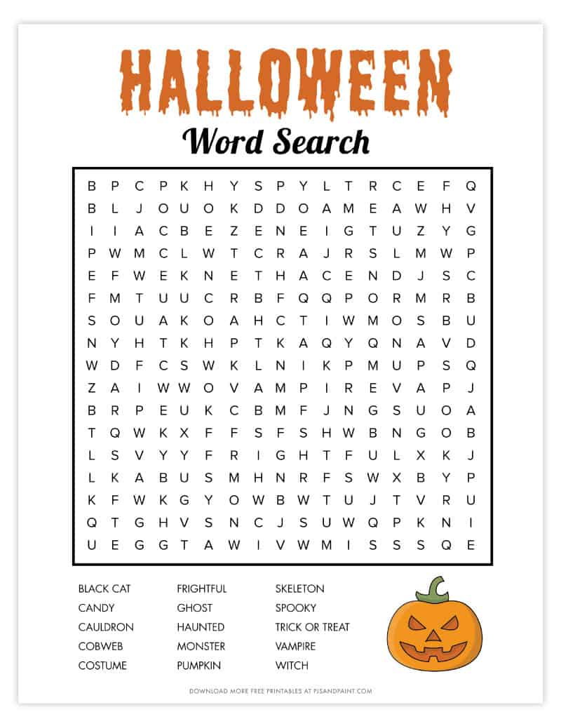 Free Printable Halloween Word Search Pjs And Paint