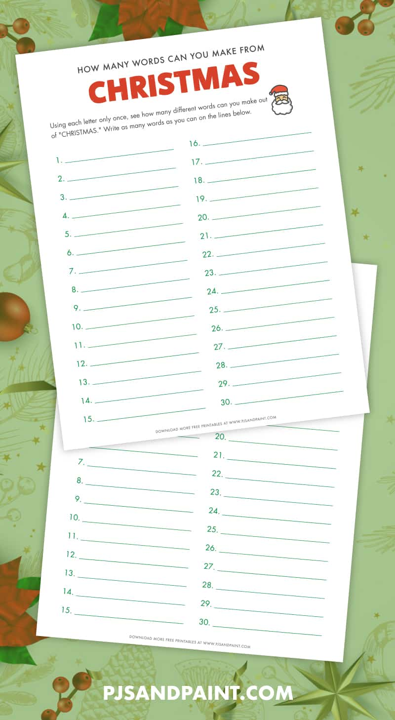free printable how many words can you make from christmas