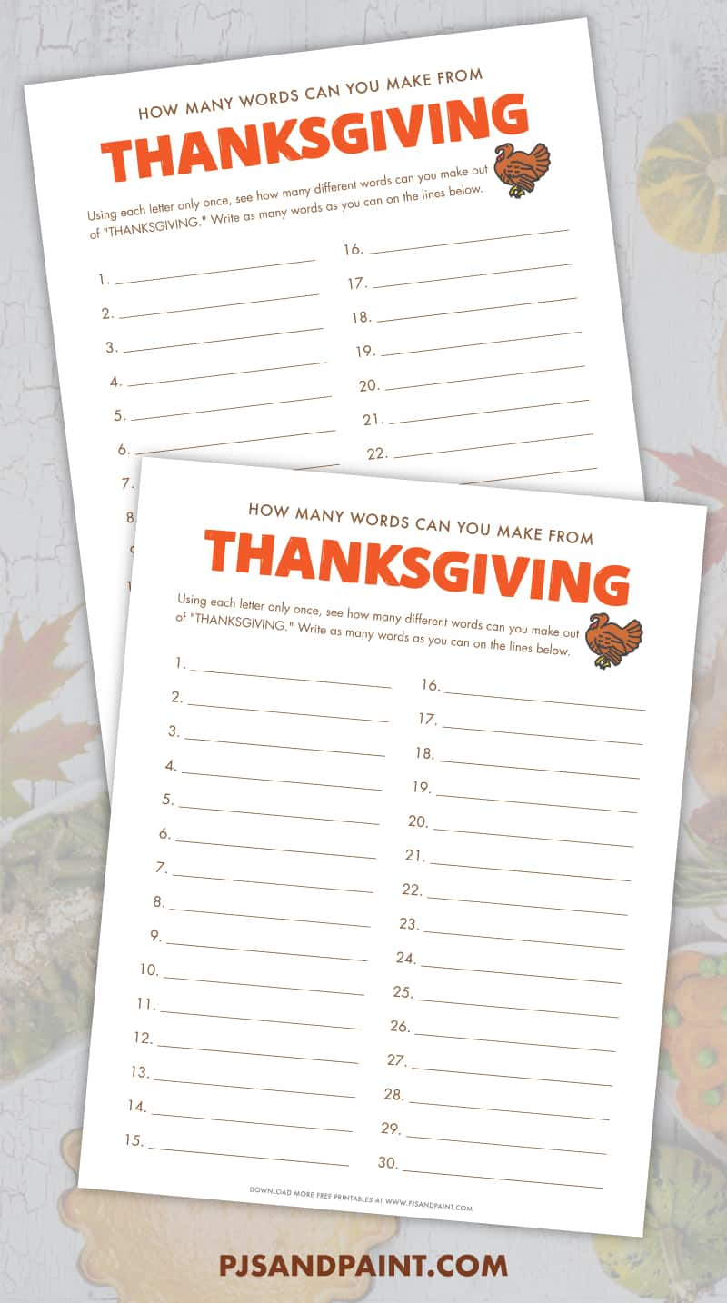 printable how many words can you make out of thanksgiving