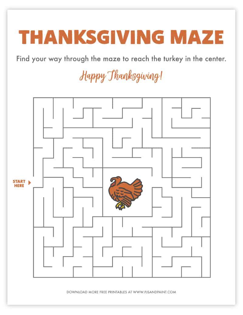 thanksgiving maze free printable