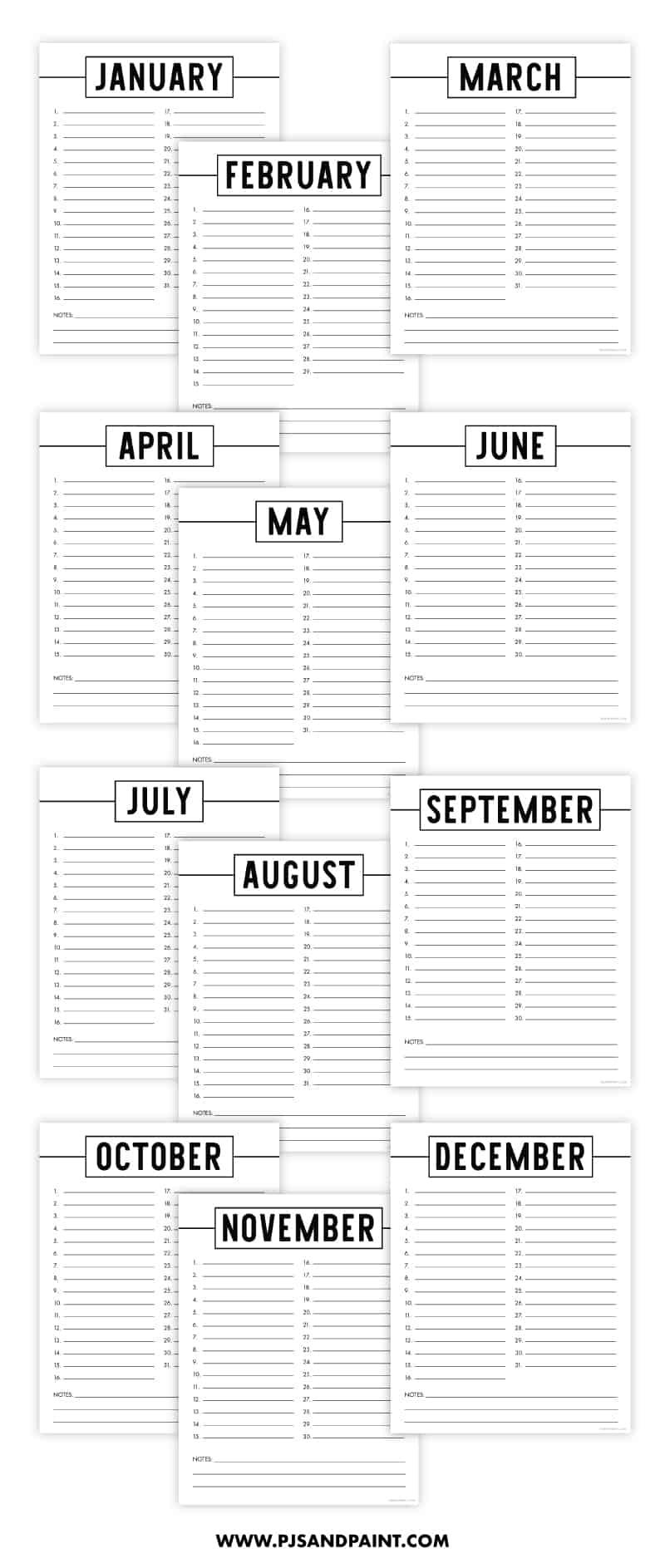 free perpetual calendar printable