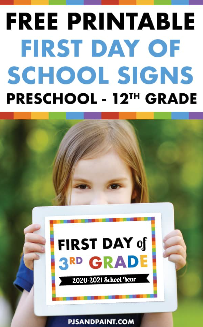 free printable first day of school signs 2020