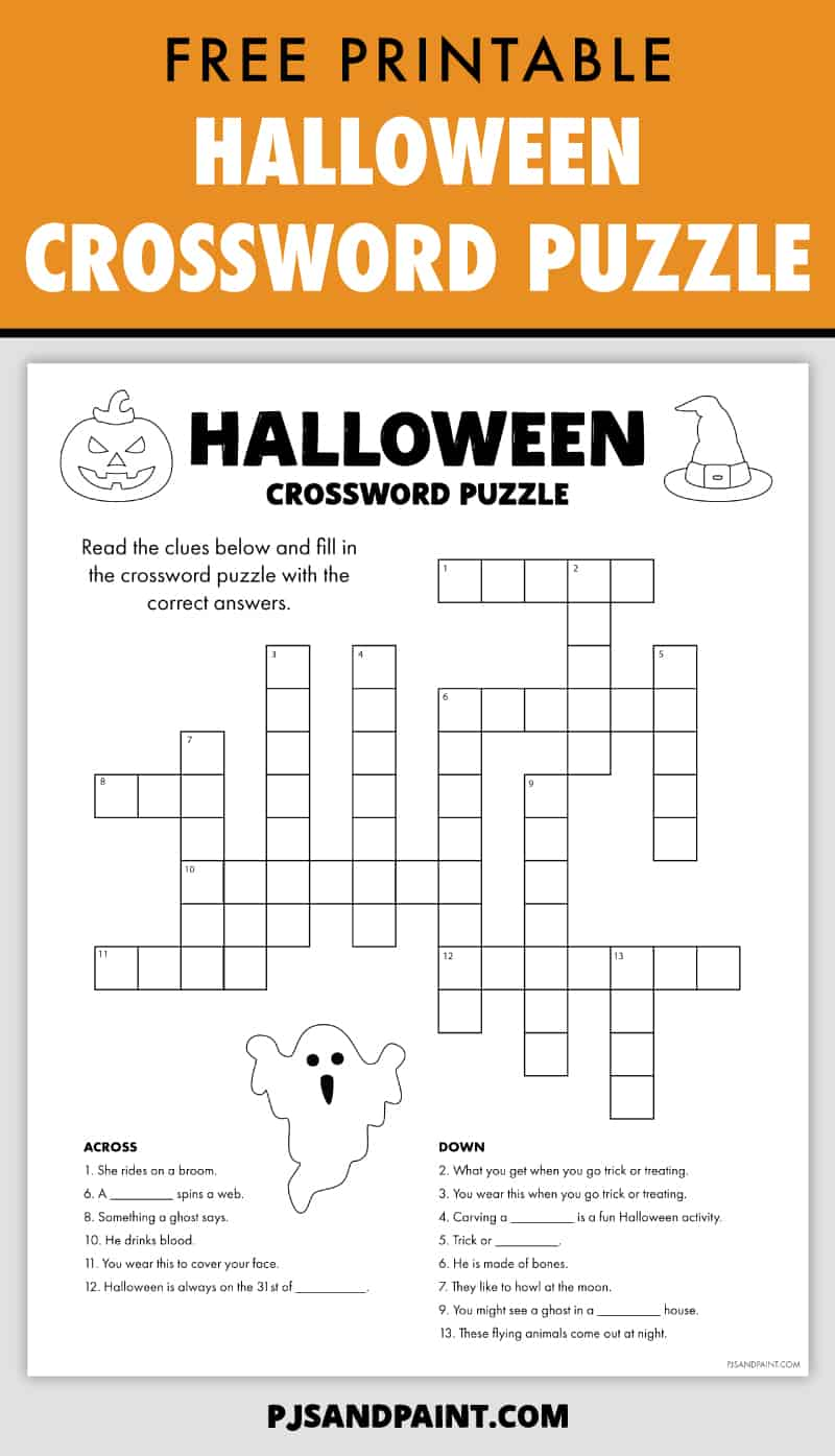 free printable halloween crossword puzzle pinterest
