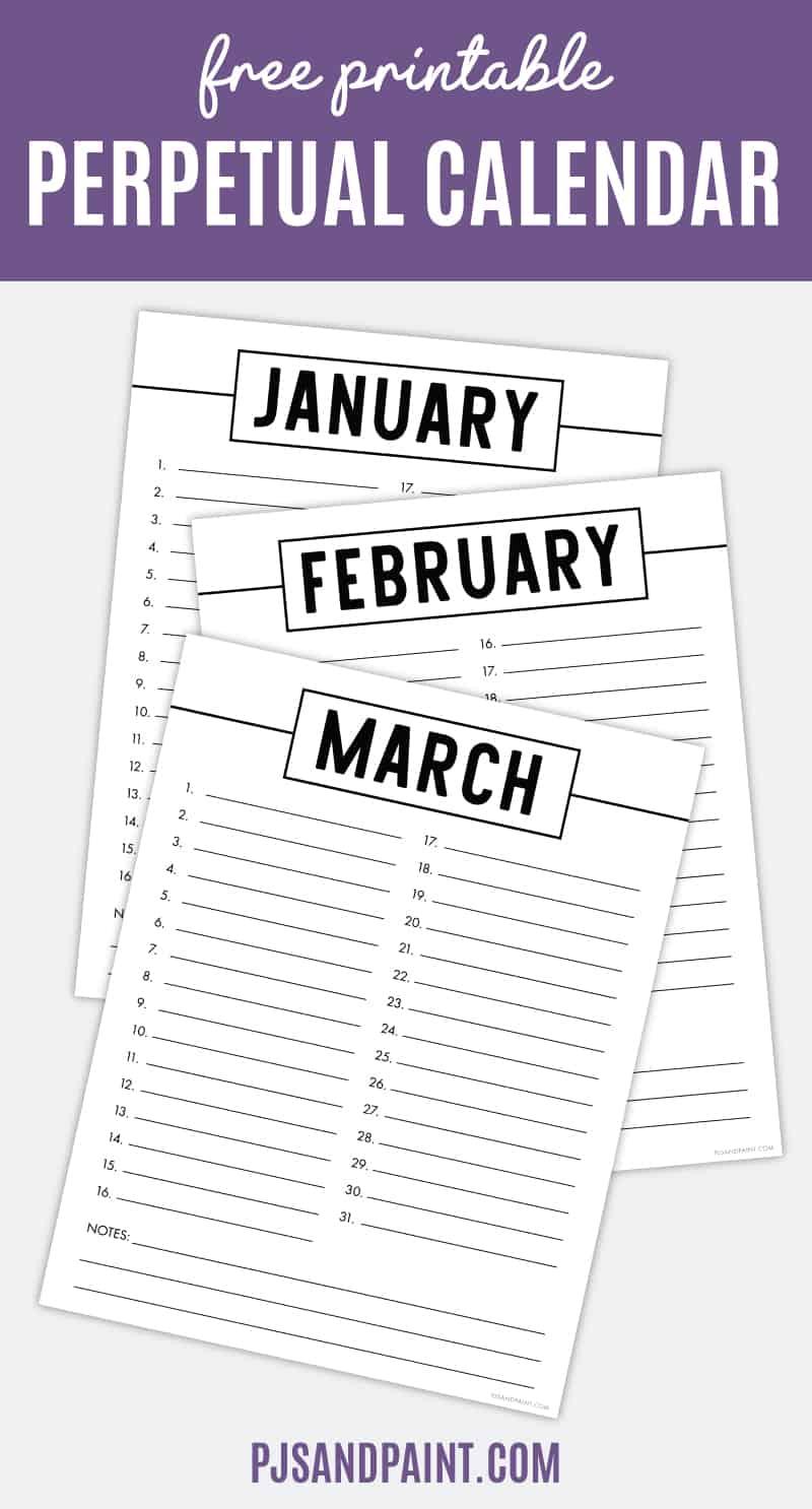 free printable perpetual calendar pinterest