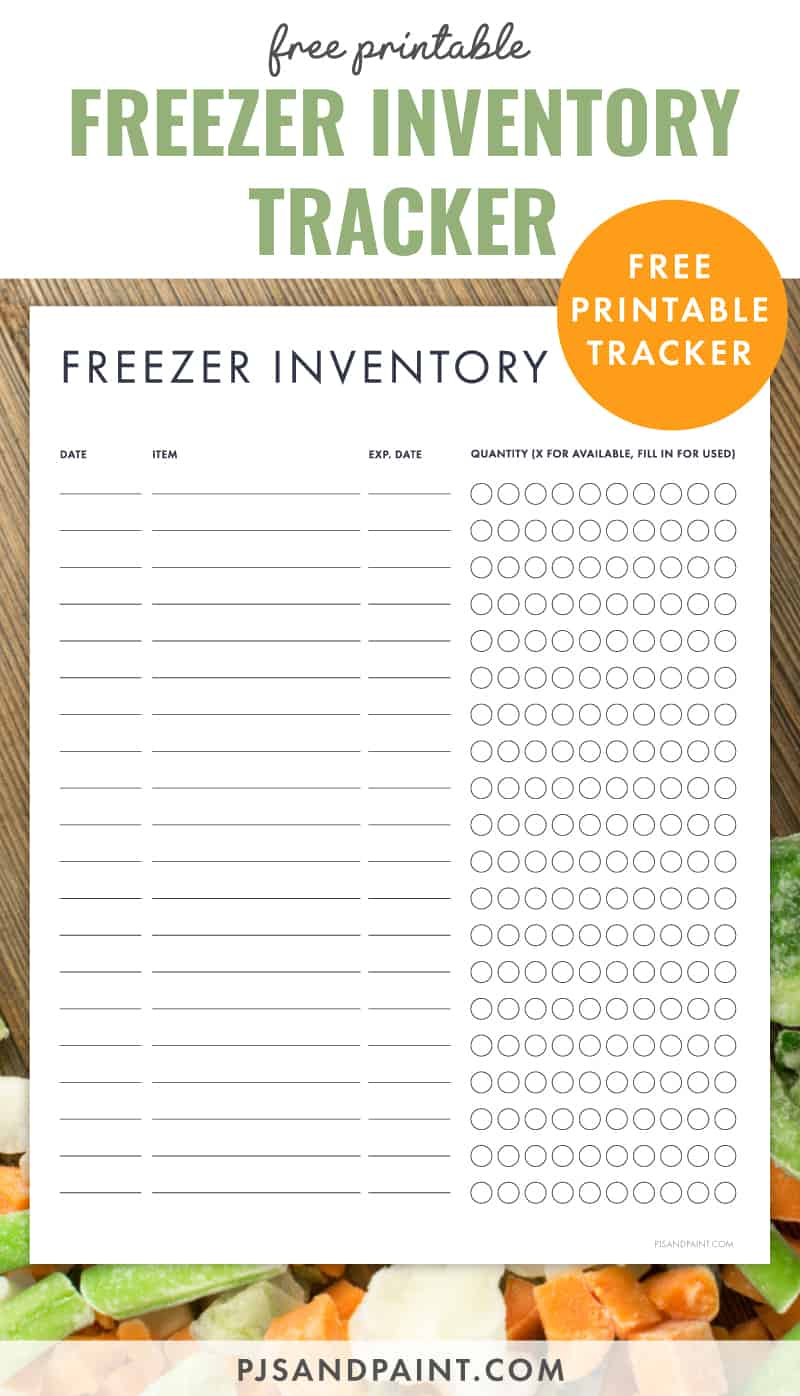 freezer inventory printable pinterest