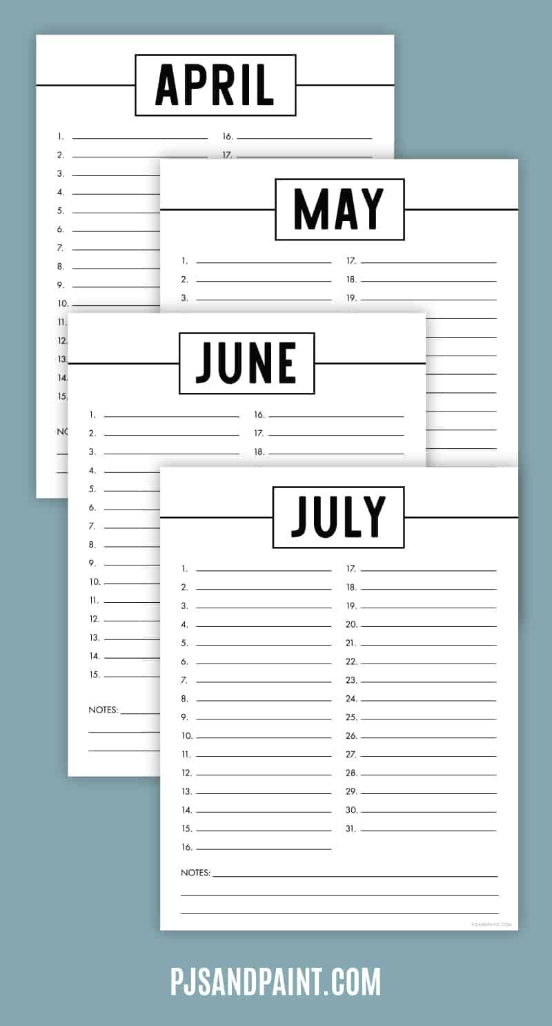 perpetual calendar mockup