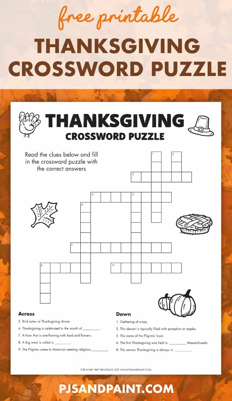 free printable thanksgiving crossword puzzle pinterest