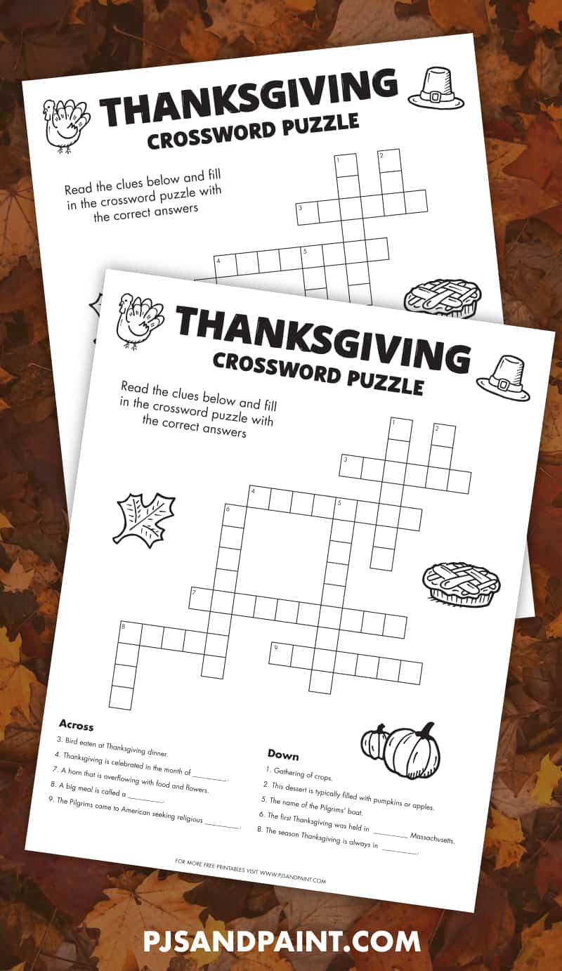 Free Printable Thanksgiving Crossword Puzzle Pjs And Paint