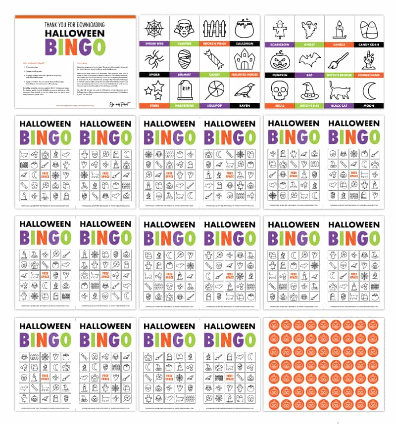 halloween bingo cards printable