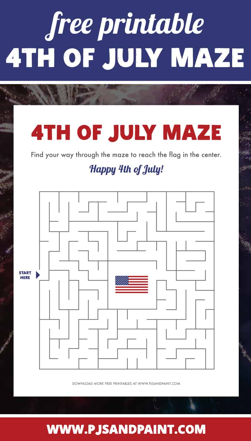4th of july maze free printable