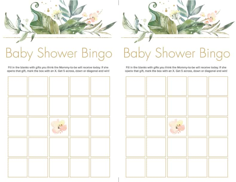 baby shower bingo greenery