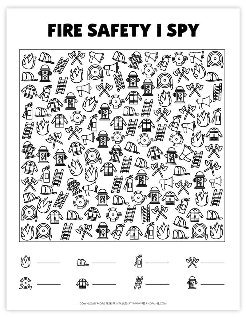 fire safety i spy free printable