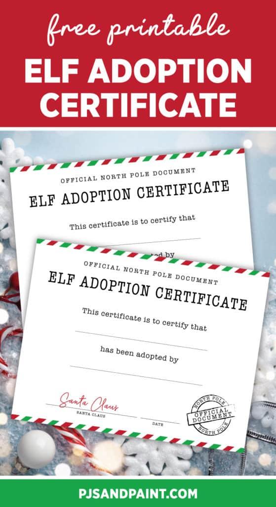 free printable elf adoption certificate