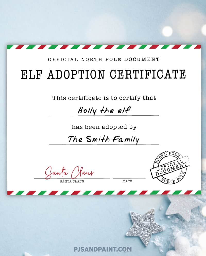 free printable elf adoption certificate sample