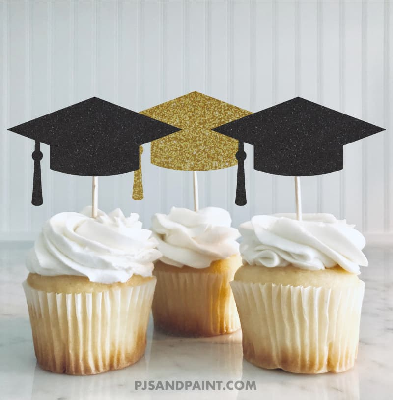 graduation cap template cupcake toppers