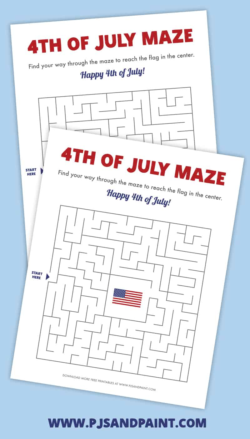 july 4th printable maze