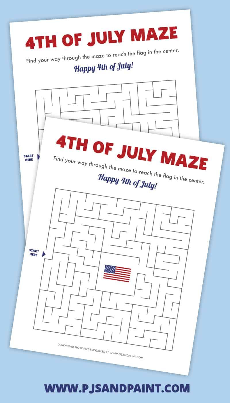 july 4th printable maze