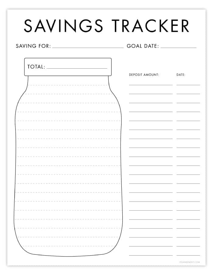 Free Printable Savings Tracker Budgeting Printables