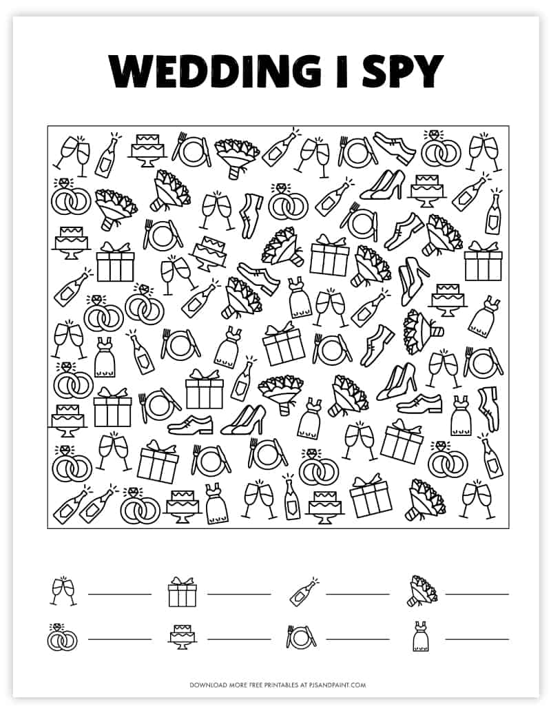 wedding i spy free printable