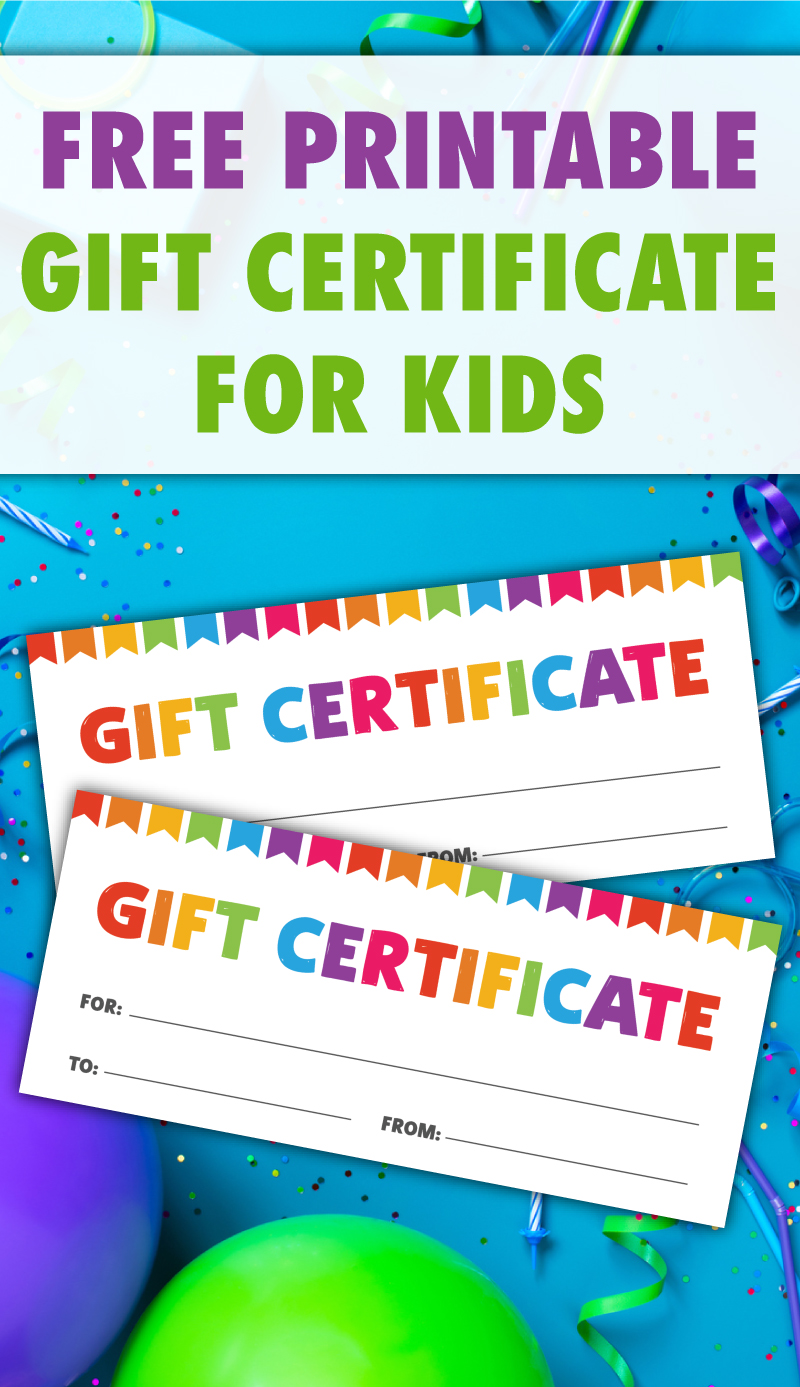 free printable gift certificate for kids
