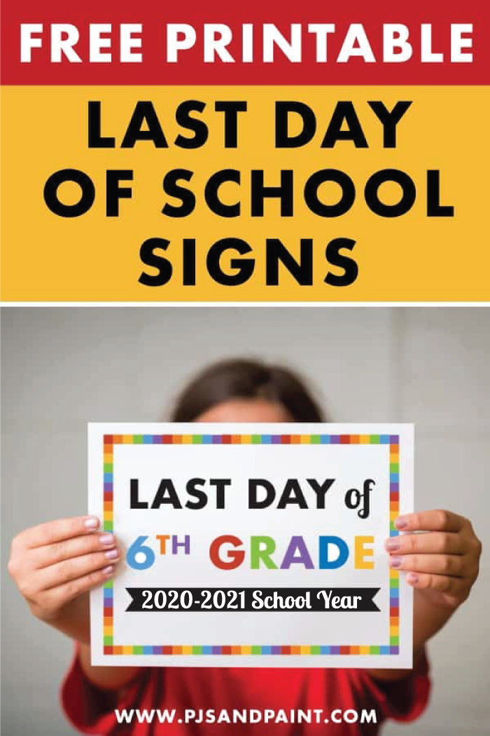 last day of school signs pin