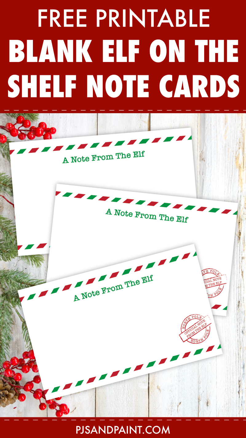 free printable blank elf on the shelf note cards