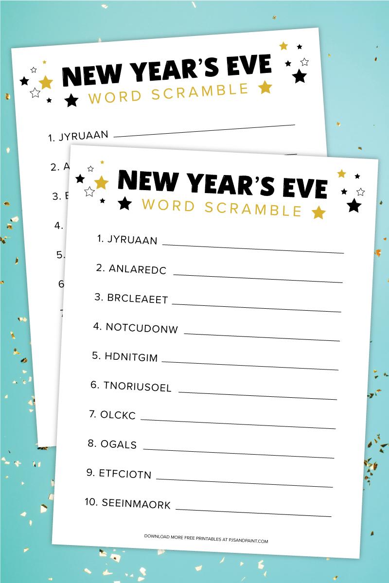 new years eve word scramble free printable