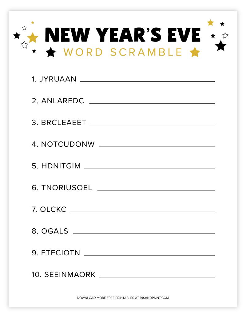 new years eve word scramble
